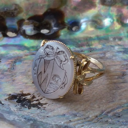 """Mama"" Bear Chalcedony Family Crest Ring, by Seal & Scribe"