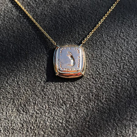 'Joys I Double, Sorrows I Divide' 18kt Rose Gold Cast Pendant, by Seal & Scribe