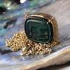 'Qui Me Neglige Me Perd' Dark Green Glass Pendant, by Seal & Scribe 3