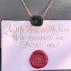 'Qui Me Neglige Me Perd' Dark Green Glass Pendant, by Seal & Scribe 25