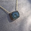 'Qui Me Neglige Me Perd' Dark Green Glass Pendant, by Seal & Scribe 18