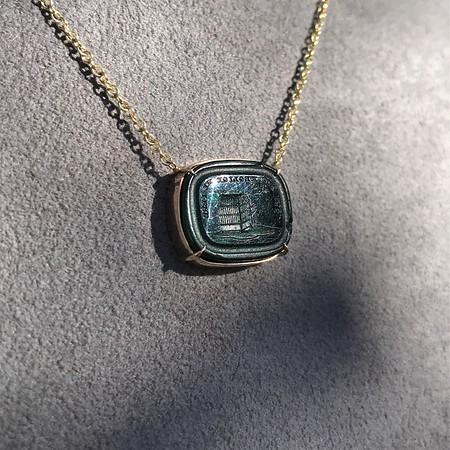 'Qui Me Neglige Me Perd' Dark Green Glass Pendant, by Seal & Scribe