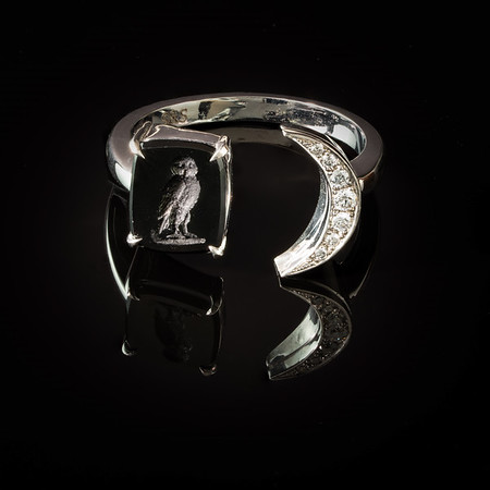 """Wise Owl"" Moon Ring/ (Black glass, 14kt white gold & .14ctw brilliant cut diamonds)"