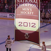 Chris Venti (BC - 35), Tommy Atkinson (BC - 28), 2012 National Championship Banner - The Boston College Eagles raised the 2012 Men's Ice Hockey NCAA National Championship Banner and defeated the visiting Northeastern University Huskies 3-0 on October 20, 2012, at Kelly Rink in Chestnut Hill, Massachusetts.