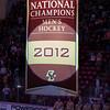 2012 National Championship Banner - The Boston College Eagles raised the 2012 Men's Ice Hockey NCAA National Championship Banner and defeated the visiting Northeastern University Huskies 3-0 on October 20, 2012, at Kelly Rink in Chestnut Hill, Massachusetts.