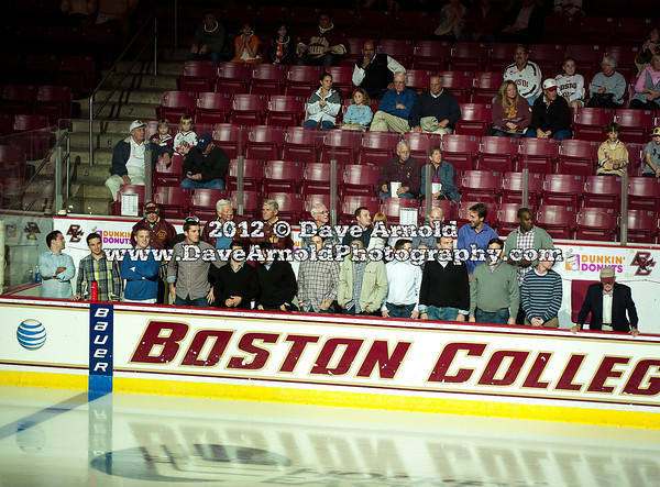 Nathan Gerbe - The Boston College Eagles raised the 2012 Men's Ice Hockey NCAA National Championship Banner and defeated the visiting Northeastern University Huskies 3-0 on October 20, 2012, at Kelly Rink in Chestnut Hill, Massachusetts.