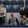 Brooks Dyroff (BC - 14), Bill Arnold (BC - 24), Quinn Smith (BC - 27) - The  Notre Dame Fighting Irish defeated the Boston College Eagles 3-2, in overtime, on November 18, 2011, at the Compton Family Ice Center in South Bend, Indiana.