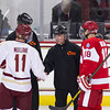 Pat Mullane (BC - 11), Wade Megan (BU - 18), Referee - The Boston College Eagles defeated the Boston University Terriers 5-2 on December 1, 2012, and Jerry York (BC - Head Coach) matched Ron Mason's all-time record of 924 victories at Kelly Rink in Chestnut Hill, Massachusetts.