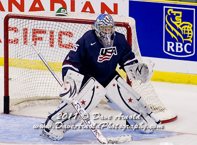 John Gibson (USA - 35) - The Russian National Junior Team defeated the 2012 U.S. National Junior Team 6-3 in a preliminary game on December 20, 2011, at the ENMAX Centrium in Red Deer, Alberta, Canada.
