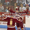 Danny Linell (BC - 10) celebrates his first colligate goal with Edwin Shea (BC - 8) which put BC up 1-0 - The visiting Boston College Eagles defeated the Boston University Terriers 5-1 on December 3rd, 2011, at Agganis Arena in Boston Massachusetts.