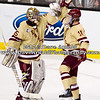 Parker Milner (BC - 35), Pat Mullane (BC - 11) - The Boston College Eagles defeated Boston University Terriers 3-2 in overtime in the finals of the 60th Beanpot Tournament on February 13, 2012, at TD Banknorth Garden in Boston, MA.