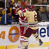 Patrick Wey (BC - 6), Alex Chiasson (BU - 9) - The Boston College Eagles defeated Boston University Terriers 3-2 in overtime in the finals of the 60th Beanpot Tournament on February 13, 2012, at TD Banknorth Garden in Boston, MA.