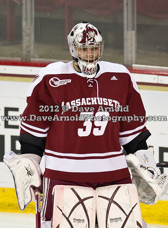 Steve Mastalerz (UMass - 39) - The Boston College Eagles defeated the University of Massachusetts Minutemen 2-1 on March 9, 2012, in the first game of the 2012 Hockey East Quarterfinals at Kelly Rink in Chestnut Hill, Massachusetts.