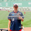 Ryan McAuliffe (19) of the Harwich Mariners of the Cape Cod Baseball League on July 7, 2016, at Fenway Park in Boston, Massachusetts.
