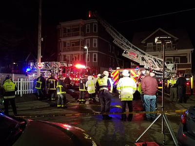 Two alarms on Duke Street in Boston, MA on April 11, 2018. Tower Ladder 10's spare rig suffered a catastrophic collapse during the incident. Video: https://youtu.be/SVhESxE8hI0