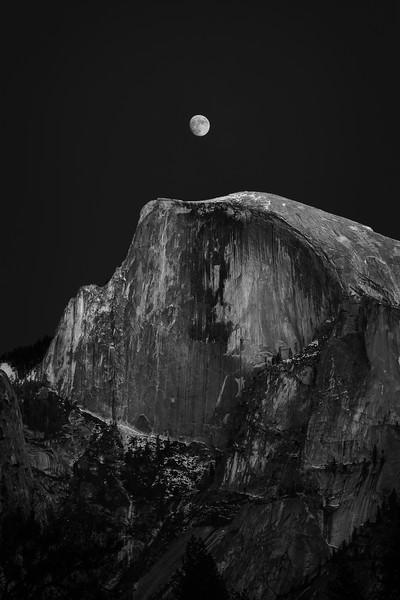 Half Dome and Moon, Yosemite National Park