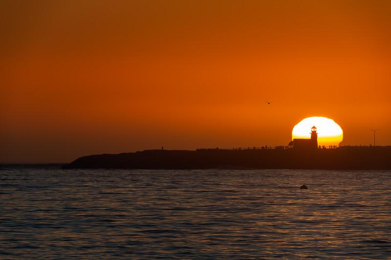 Sunset behind the Lighthouse Point, Santa Cruz, CA