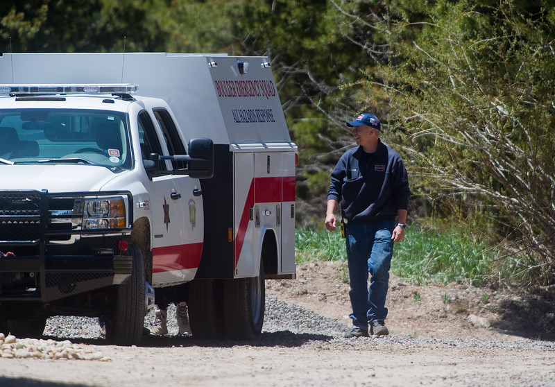 "A Boulder Emergency Squad vehicle is seen at Eldora Mountain Resort on Thursday as search teams comb the area for human remains,  after a boot with a human foot and leg bones inside it was found on the property.<br /> More photos:  <a href=""http://www.dailycamera.com"">http://www.dailycamera.com</a><br /> Autumn Parry/Staff Photographer<br /> June 2, 2016"