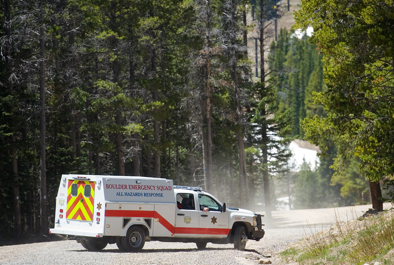 "A Boulder Emergency Squad vehicle is seen at Eldora Mountain Resort on Thursday as search teams look for human remains,  after a boot with a human foot and leg bones inside it was found on the property.<br /> More photos:  <a href=""http://www.dailycamera.com"">http://www.dailycamera.com</a><br /> Autumn Parry/Staff Photographer<br /> June 2, 2016"