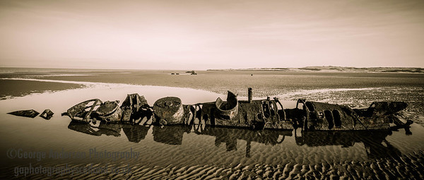 X-Craft remains WW2 Aberlady Bay East Lothian Scotland 3 B&W