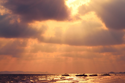 Dramatic sunset over the sea in Rayong