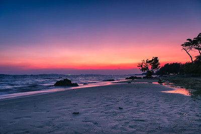 Beautiful sunset over the sea at Rayong beach