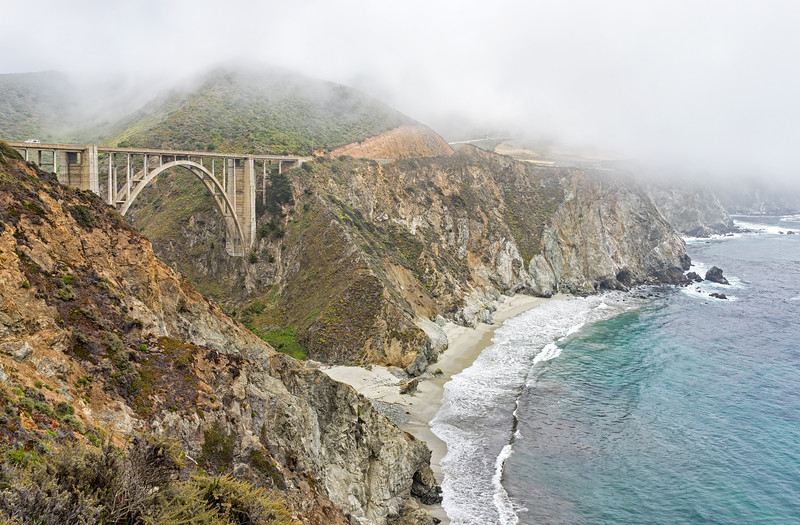 Bixby Bridge under the fog