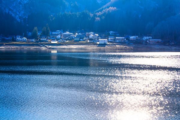 Spring sparkling on Lake Aoki, Nagano, Japan