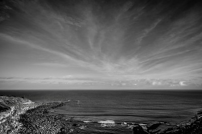 Cove B&W Sky Scottish coastline