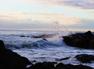 Waves break on Tongue Point on the Strait of Juan de Fuca in Washington