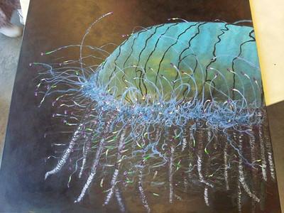 """Flower Hat Jellyfish"" (acrylic) by Sue Good"