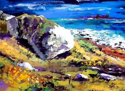 """atlantic coast, galway"" (acrylic) by Allan Coyle"