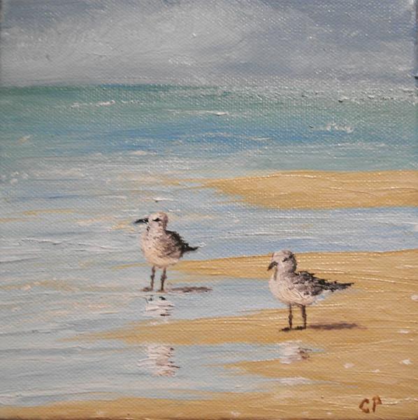 """Beach Birds"" (oil) by Carla Pairett Parker"