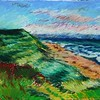 """Ocean, Dunes and Sky"" (oil crayon) by Lorna Ritz"