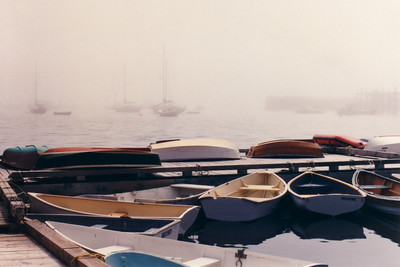 Rockport, Maine Harbor in the early morning fog