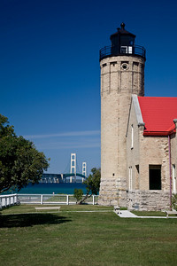 Lighthouse in Mackinaw City, Michigan and the Mackinac Bridge