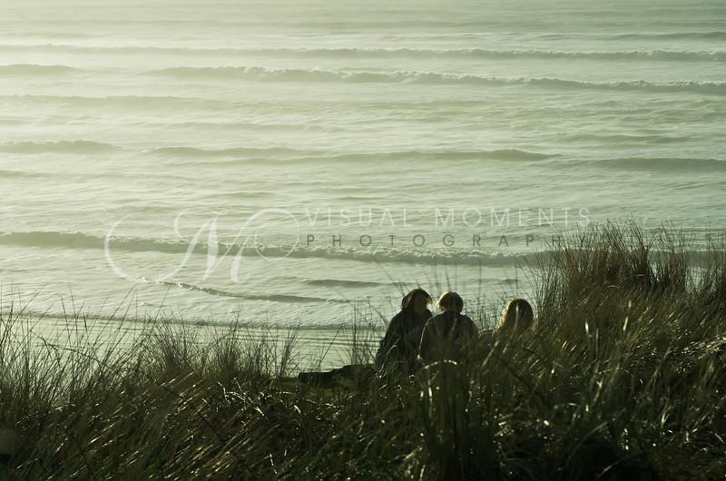 Young Ladies Meet Overlooking the Sea