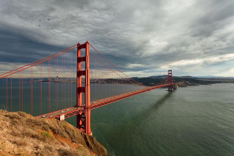 Golden Gate Bridge with Blue Angels Flying