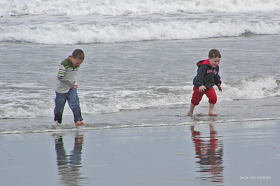 Playing tag with the waves at Short Sands Beach.