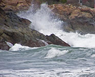 Waves break on the rocks at Short Sands Beach, York, Maine.