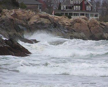Waves break on the rocks at Short Sands Beach, York, Maine.