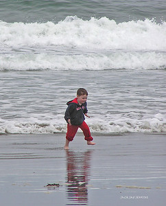 A boy and the ocean - hours of fun.