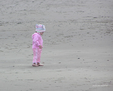 Bundled up against the cool April air, this little girl was enjoying a walk on Short Sands Beach.