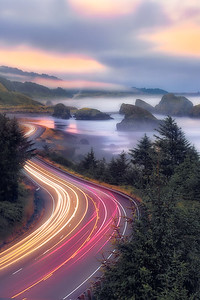 Morning mist and morning commuters along HWY101 - Pistol River, Oregon