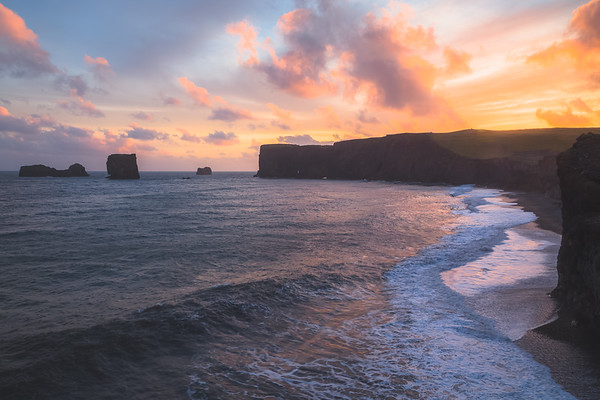 Dyrholaey Sunset. Southern Iceland