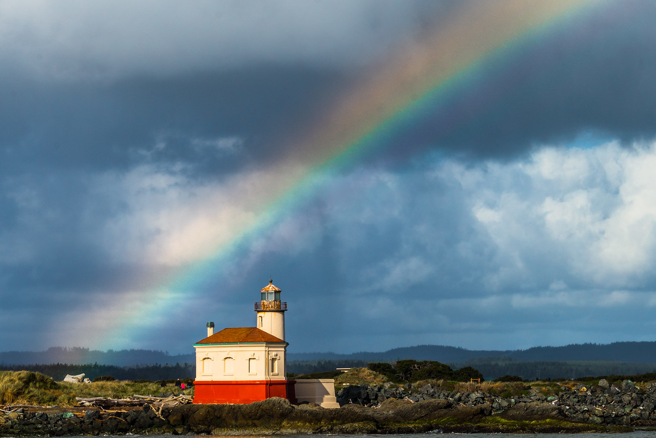 Coquille Lighthouse with Rainbow