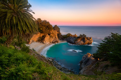 The perfect cove with a waterfall returning to the ocean - McWay Falls, California
