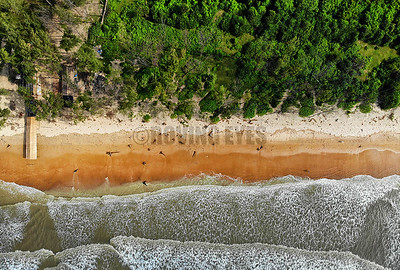 B24:A bird's eye view of the surf coming in to meet the sand in Tajpur,West Bengal