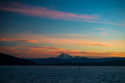 Winter sunrise over Mount Baker