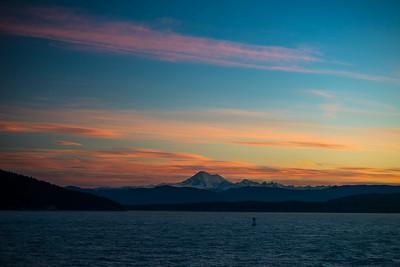 Winter sunrise over Mount Baker